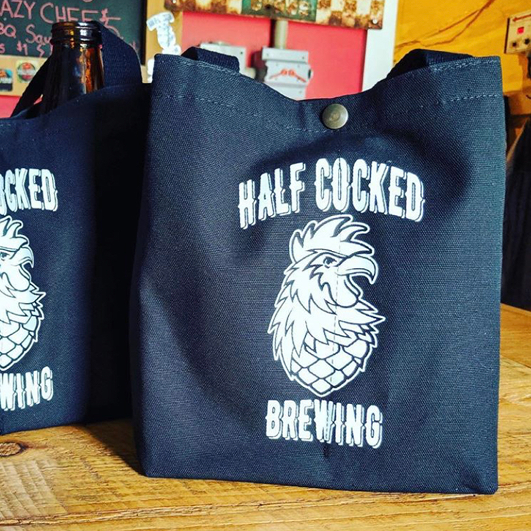 Custom beer bags - Half Cocked Brewery